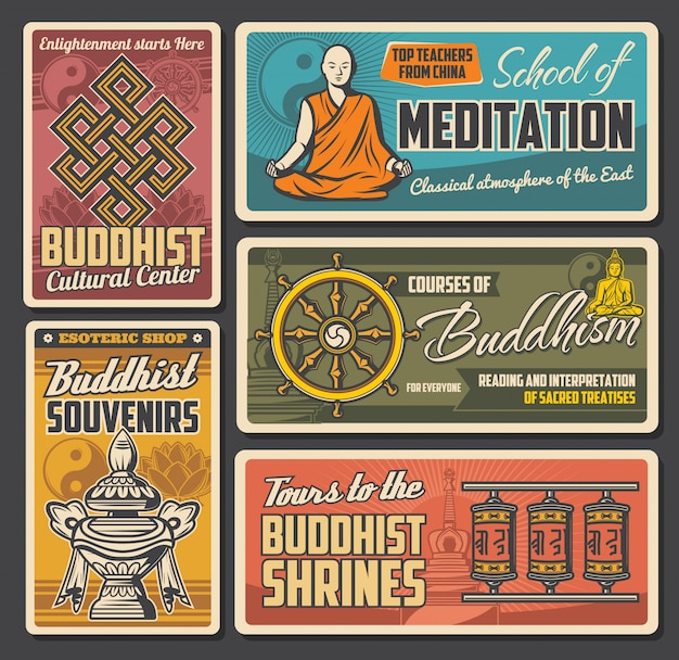 Bouddhisme yin yang, lotus, bouddha et roue du dharma