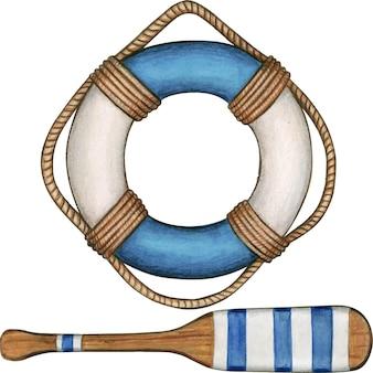 Bouée de sauvetage et aviron bleu aquarelle