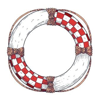 Bouée de sauvetage. blanc avec du rouge et avec une corde.