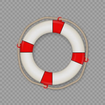 Bouée de sauvetage avec corde isolée.