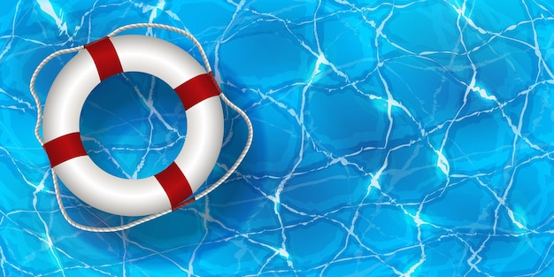 Bouée de sauvetage dans l'eau. fond d'été de piscine d'eau