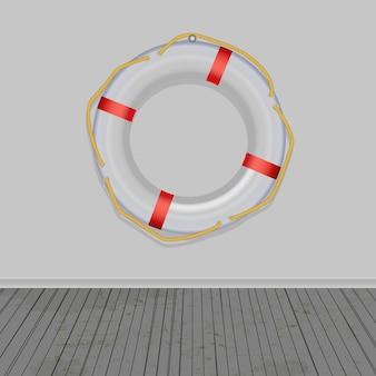 Bouée de sauvetage, fond de planches, cordes, illustration vectorielle.