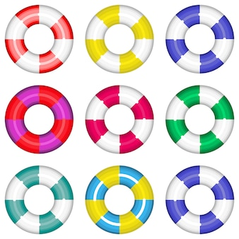Bouées de sauvetage colorées sertie de salut vie rayures. illustration de la collection isolée. définissez des bouées de sauvetage colorées et colorées pour sauver la vie de l'eau de natation.