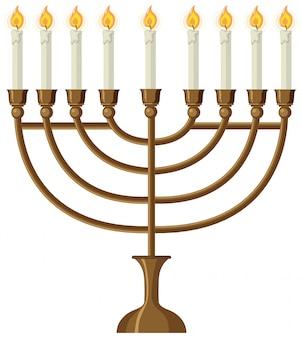 Bougeoir isolé et bougies d'éclairage