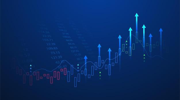 Bougie d'affaires graphique graphique de bâton d'investissement boursier trading sur fond bleu. point haussier, tendance à la hausse du graphique. conception de vecteur d'économie