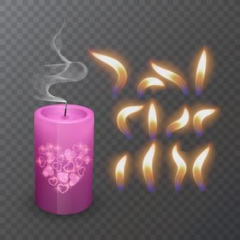 Bougie brûlante de paraffine ou de cire réaliste et flamme différente d'un plan rapproché de bougie d'isolement