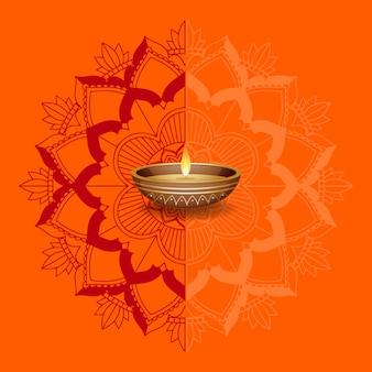 Bougie sur fond de mandalas orange