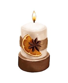 Bougie avec fond de modèle dessiné main orange séchée et anis étoilé