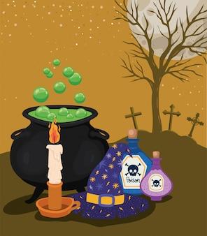 Bougie d'halloween empoisonne le bol et le chapeau de sorcière devant la conception du cimetière, les vacances et le thème effrayant