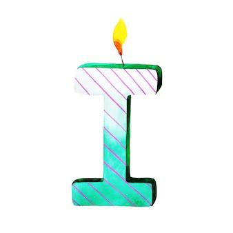 Bougie de lettre i joyeux anniversaire aquarelle