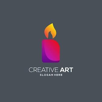 Bougie logo dégradé moderne coloré