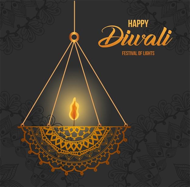 Bougie de mandala suspendue happy diwali sur la conception de fond gris, thème festival des lumières.