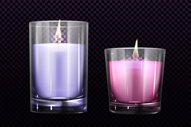 Des bougies allumées dans des bocaux en verre set clipart isolé
