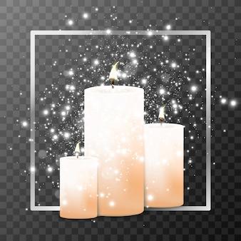 Des bougies allumées. flamme. vacances. lumières de noël isolées sur fond transparent. illustration