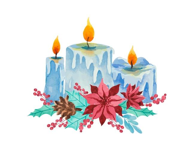 Bougies aquarelles avec fleurs rouges