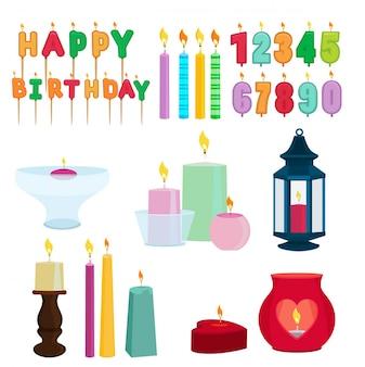 Bougies colorées drôles pour la fête d'anniversaire. jeu de vecteur de dessin animé