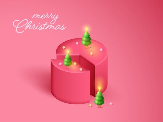 Bougies en forme d'arbre de noël illuminées avec coupe de gâteau 3d