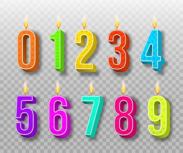 Bougies de gâteau de célébration, lumières allumées, numéros d'anniversaire et bougie de fête. bougies d'anniversaire de couleur différente avec des flammes brûlantes. numéros de dessin animé.