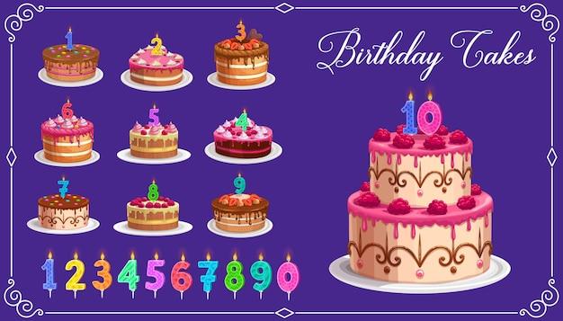 Bougies sur les gâteaux d'anniversaire avec des nombres d'âge de un à dix icônes isolées. joyeux anniversaire fête des enfants. petits gâteaux et chiffres de bougie colorés avec feu, bougies d'anniversaire
