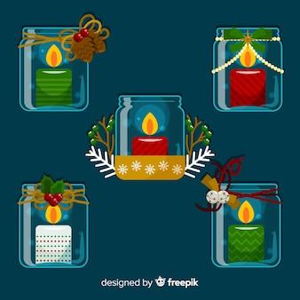 Bougies à l'intérieur du pot de verre