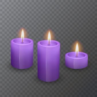 Bougies réalistes de couleur violette, bougies allumées