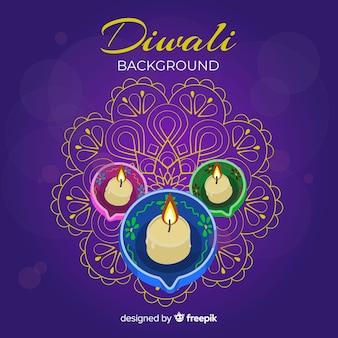 Bougies réalistes fond de diwali