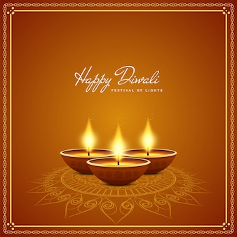 Bougies réalistes fond happy diwali