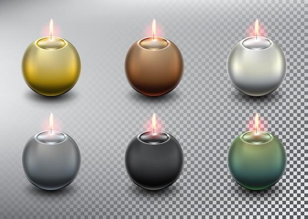 . bougies sphériques. isolé sur le fond blanc.