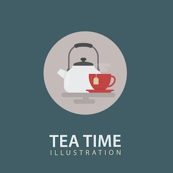 Bouilloire blanche et tasse de thé rouge