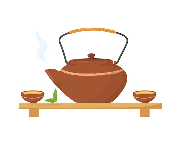 Bouilloire chaude de style asiatique avec deux tasses et feuilles de thé. cérémonie du thé.