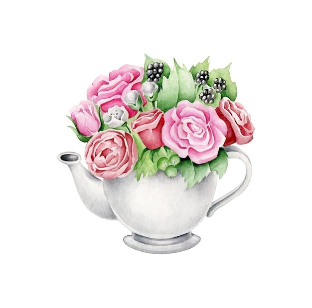 Bouilloire avec des fleurs
