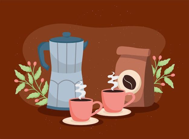 Bouilloire et sac à café