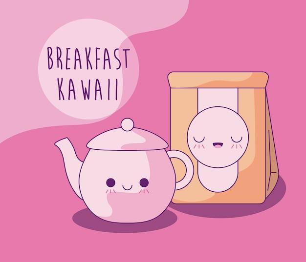 Bouilloire avec sac en papier pour le petit déjeuner à la kawaii