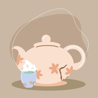 Bouilloire et tasse à thé