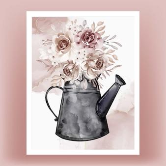 Bouilloires avec bouquets de fleurs illustration aquarelle en terre cuite
