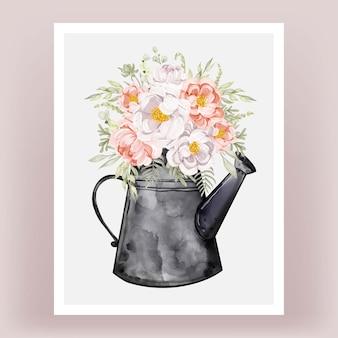 Bouilloires avec bouquets de fleurs pivoines aquarelle