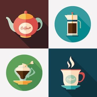 Bouilloires à café avec des tasses à café plates et rondes icônes.