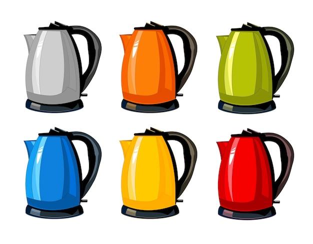 Bouilloires théières électriques isolés cartoon set plat icônes pour la conception d'intérieur de cuisine