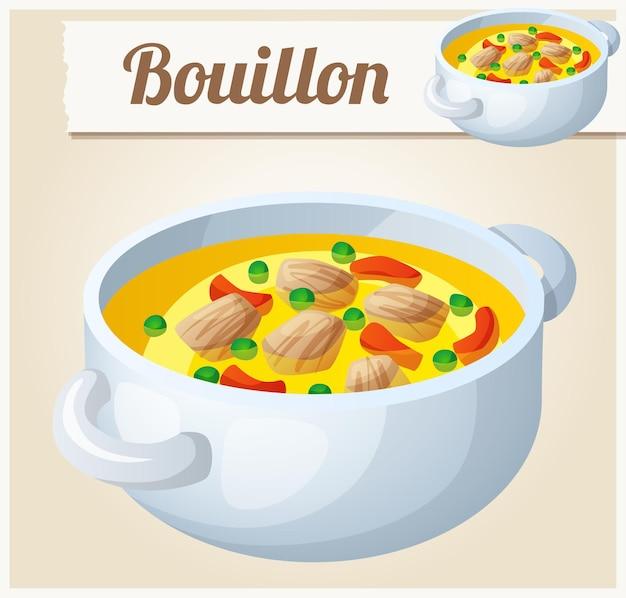 Bouillon avec viande et légumes. icône vectorielle détaillée