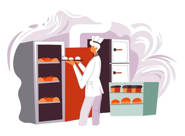 Boulanger faisant cuire des miches de pain, des petits pains et de la pâtisserie pour la boulangerie ou le magasin. préparation de nourriture pour restaurant ou dîner, café ou bistrot de restauration rapide. personnage masculin dans la cuisine. vecteur dans un style plat
