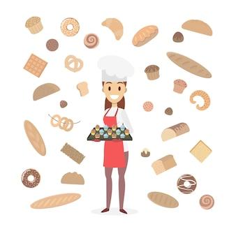 Boulanger femme avec pâtisserie sur blanc.