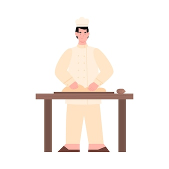 Boulanger pétrissant la pâte pour faire cuire du pain ou des pâtisseries une illustration vectorielle à plat