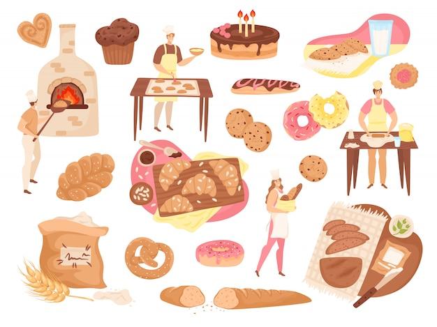 Boulangerie alimentaire, pâtisserie et produits ensemble d'illustrations. boulangers, miches de pain frais, tartes, gâteaux, farine et icônes de cuisinière. produits de boulangerie, beignets, baguette, bretzels et petits pains de blé.