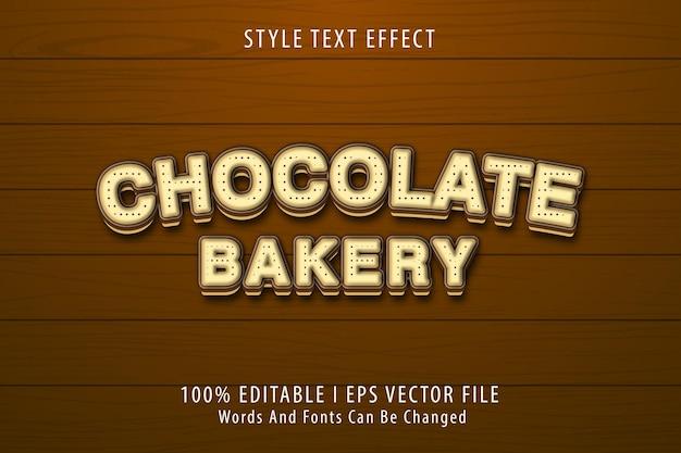 Boulangerie au chocolat, effet de texte modifiable en 3d