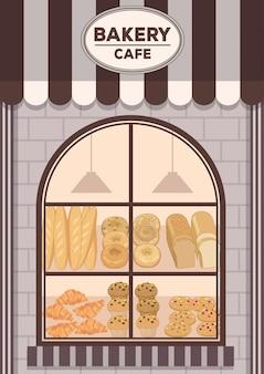 Boulangerie café devant la boutique