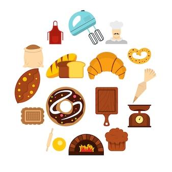 Boulangerie définie des icônes plats