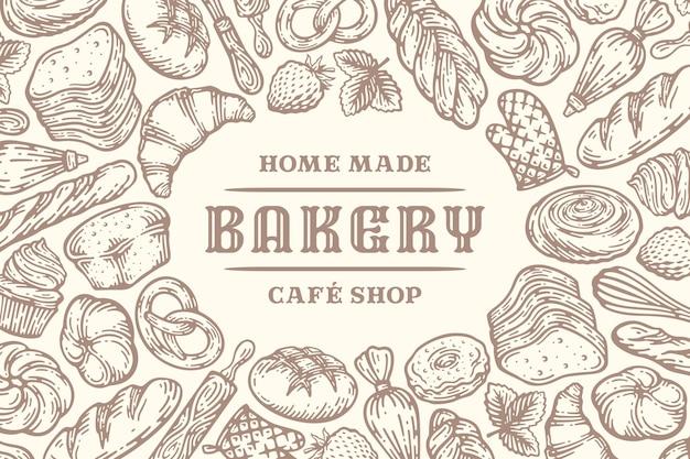 Boulangerie dessinée à la main doodle