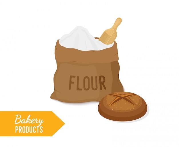 Boulangerie - farine dans un sac en tissu et pain de seigle