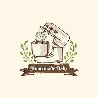 Boulangerie logo mélangeur cuisson avec ornement de feuilles dans le style d'illustration dessiné à la main