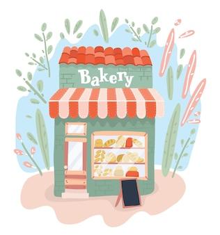 Boulangerie sur le magasin de boulangerie de rue à l'extérieur